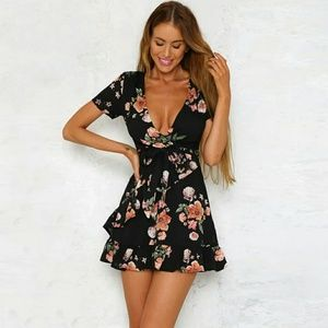 Floral Deep V-neck Dress